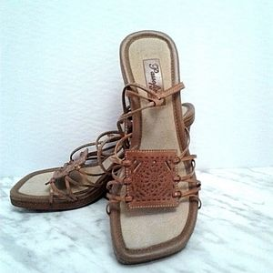 NWT Passofino Strappy Lace-up Sandals heels sz 8